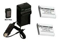 Two 2 Batteries + Charger For Pentax Optio Wg-2 Wg-3 Gps Wateproof Camera