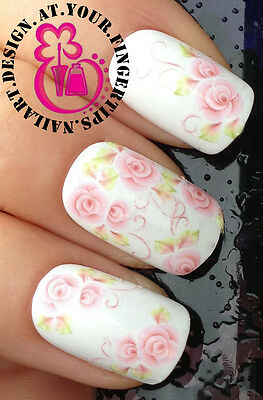 NAIL ART WRAP WATER TRANSFERS DECALS STICKERS SET ROSES FLOWERS & TENDRILLS #97