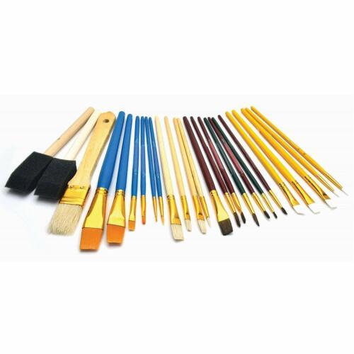 Artist Paint Brush Set of 25 Assorted Brushes Foam Sponges Fine Detail Painting