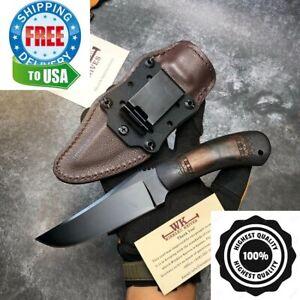 Stone Wash 80crv2 Blade Black Maple Handle Huntin Camp Fixed Blade Outdoor Knife