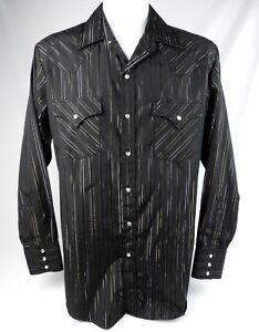 Ely Cattleman Men/'s Western Shirt BLACK Silver Gold Long Sleeve Lurex Stripe
