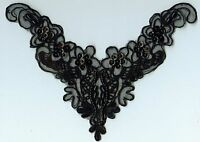 Black Pearl & Sequin Bodice Applique - Ps-29 - - Free Shipping