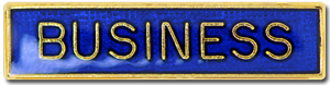 Business School Subject Bar Pin Badge in Blue Enamel
