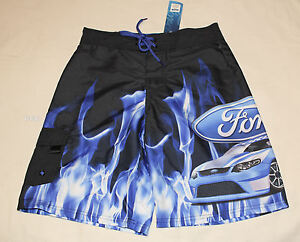 aa647bcc21 Ford FG Falcon V8 Supercar Boys Black Flame Printed Board Shorts ...