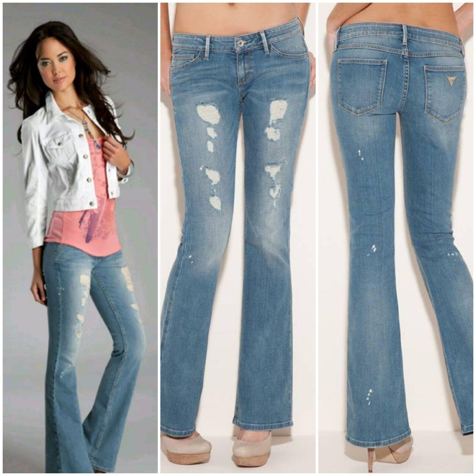 NWT GUESS Mini Flare bluee Jeans pants Boho 2 Wash size 24