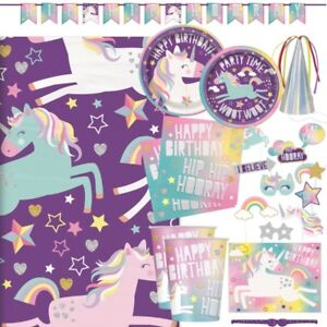 Unicorn-Rainbow-Party-Tableware-Cups-Plates-Napkins-Decorations-amp-Balloons