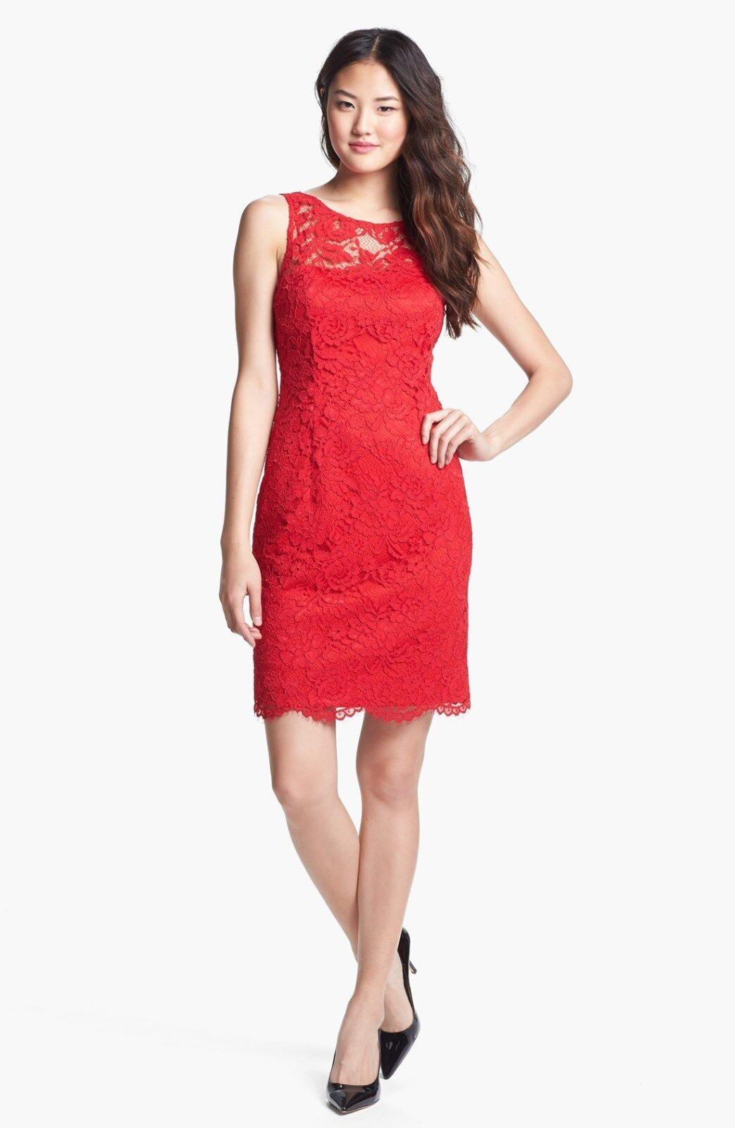 Adrianna Papell Sleeveless Lace Sheath Dress ( Size 6)