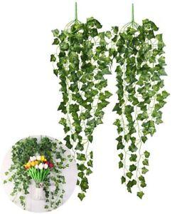 Efeu Efeuranke Kunstblumen de 2 Stück Efeugirlande Künstlich Hängende Rebe 2.5M