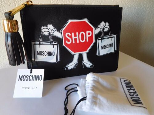 cuero Shop de de Bolso bolsa embrague Moschino negro mano de 885699843882 Nuevo Couture Sign fqwS8H6x