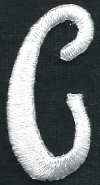 """1 1//8/"""" Fancy White Script Cursive Alphabet Letter C Embroidered Patch"""