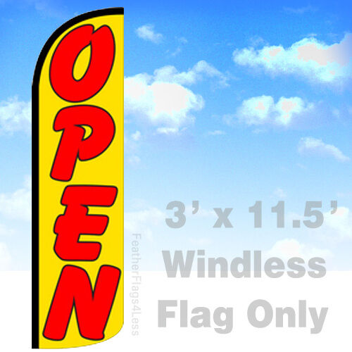 OPEN yq Windless Swooper Feather Flag Banner Sign 3x11.5