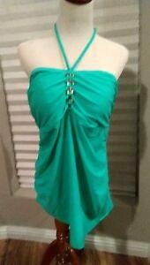278d1b7417bab Liz Lange Maternity Jade Green Halter Swim Tankini Top Women's size ...