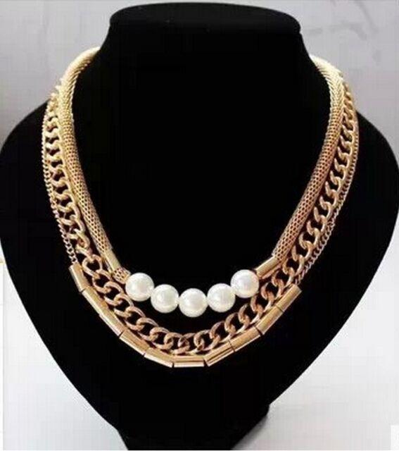 Fashion Jewelry Multi Layer Chain Pearl Bib Statement Choker Chunky Necklace