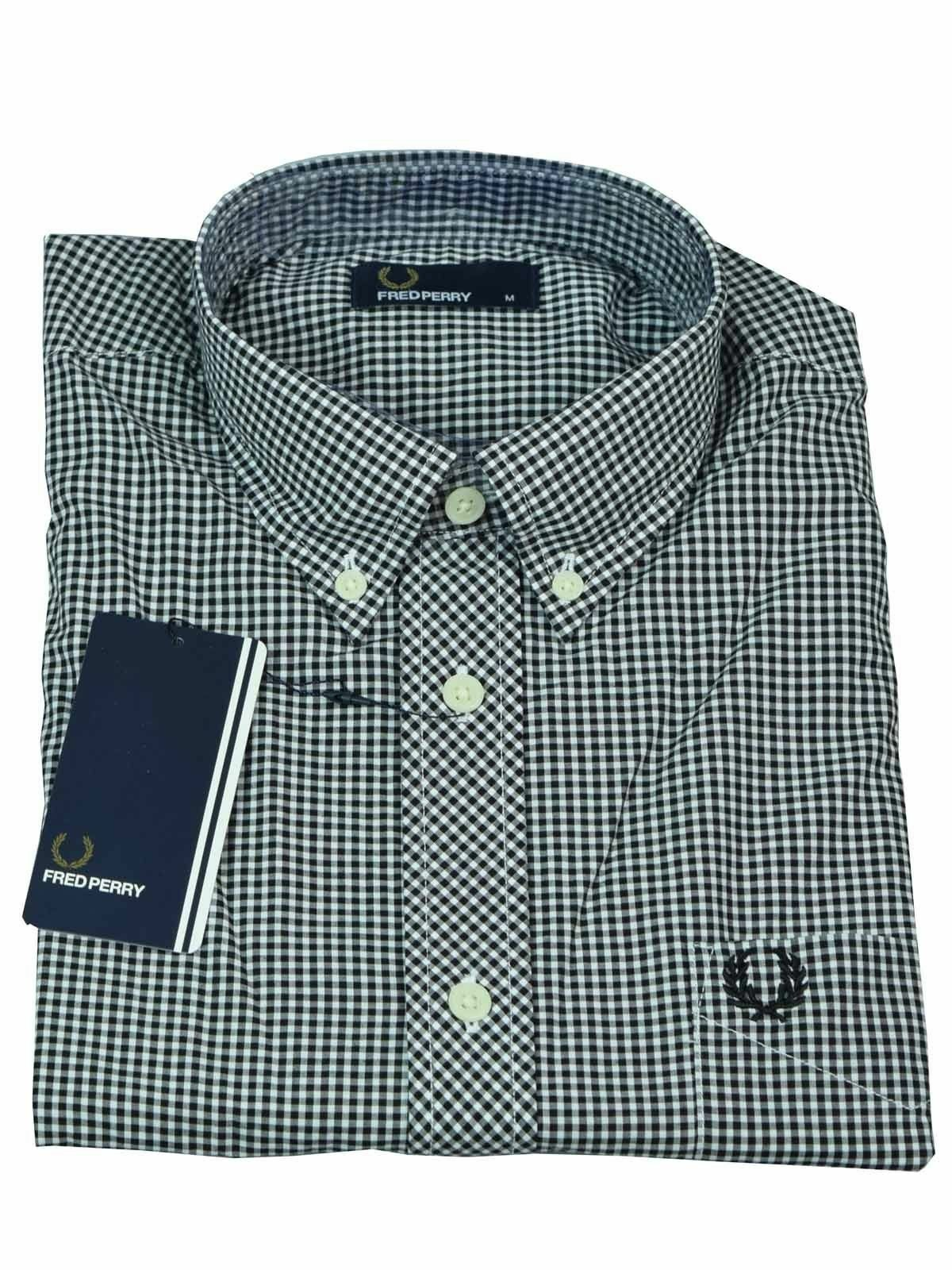 Fred Perry Button-Down Langarmhemd M8299 102 black   white  6123