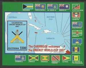 GUYANA-2007-CRICKET-WORLD-CUP-FLAGS-MAPS-Souvenir-Sheet-MNH