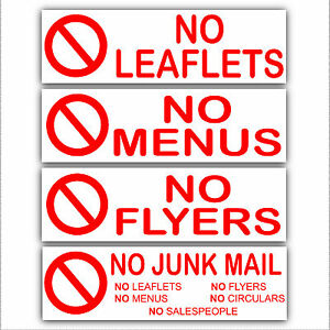 no menus leaflets flyers junk mail privacy stickers for external