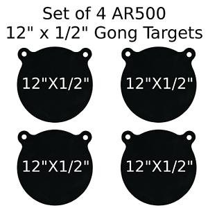 Conjunto de 4 Gong de destino de acero AR500 1 2  X 12  pintado de negro práctica de tiro sonó
