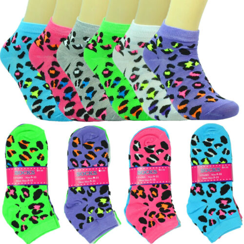 6 Pairs For Women Fashion Cotton School Casual Low Cut Socks Size 9-11 Leopard