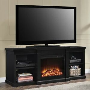 Altra Furniture Manchester Tv Stand With Fireplace 70 Black Ebay