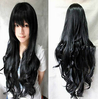 9color Heat Resistant Long Wavy Curly Cosplay Wigs Full Wig Fancy Dress Wig