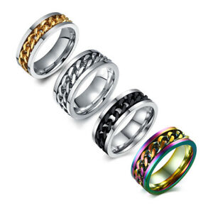 Silver-Black-Gold-Rainbow-Spinner-Chain-Rings-Stainless-Steel-Men-039-s-Band-Sz-6-15