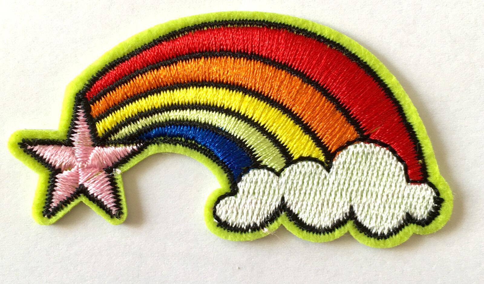 Aufnäher Wolke rainbow patch Kinder Applikation Regenbogen Stern Aufbügler