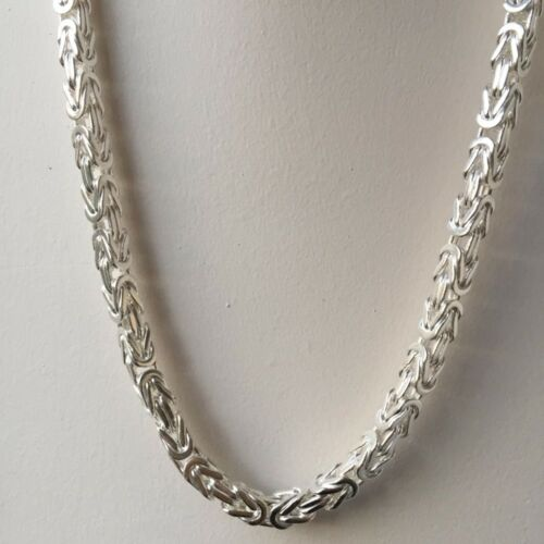 Mens Byzantine Kings Necklace Chain Solid 5mm 19Inch 61GR 925 Sterling Silver