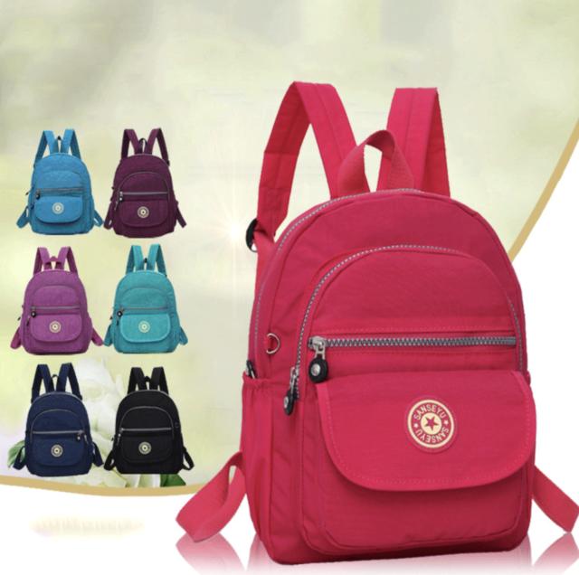 666ab6abc180 Waterproof Mini Backpack Women Purse Nylon Shoulder Rucksack Small Travel  Bag