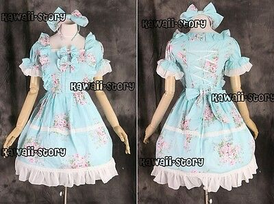 M-548 S/M/L/XL/XXL blau blumen Gothic Lolita Cosplay Kostüm costume Kleid dress