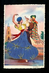 Embroidered-clothing-postcard-Spain-Flamenco-Dancer-Soleares-Artist-Gumier-2
