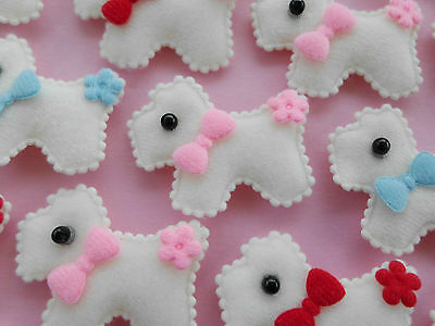 25! Scottie Dog Cream Felt Embellishments - Sweet Flower & Bow Mix - 40mm/1.6""