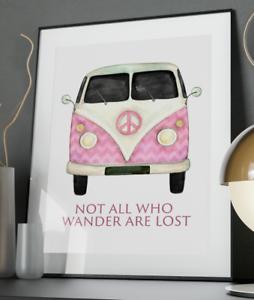 VW-Camper-Van-Wander-Art-Prints-A3-A4-A5-A6-Decor-Gift-Wall-Xmas-Nursery-Poster