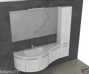 Mobile bagno w701 l.175 5 curvo moderno sospeso top vasca integrata