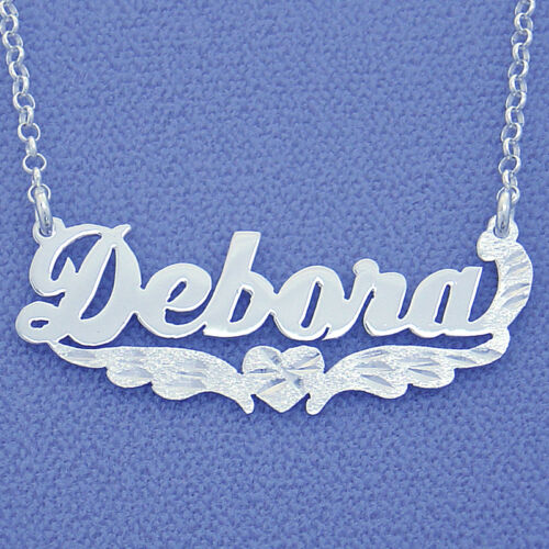 Sterling Silver Personalized Name Necklace Pendant with Heart Angel/'s wings SN29