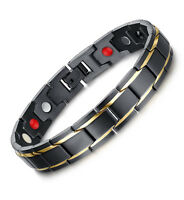 Mens Stainless Steel Magnetic Therapy Link Chain Bracelet Pain Relief Balance