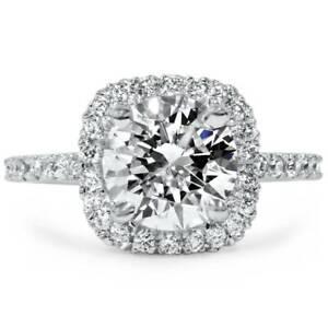 1-3-4-CT-Cushion-Halo-Diamond-Engagement-Ring-Round-G-SI-14K-White-Gold-Enhanced