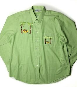 Las-Olas-Gingham-Monkey-Hammock-Shirt-Sz-XL-Long-Sleeve-Rare-NWOT