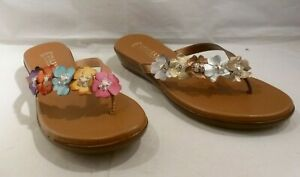 DAMIANI-039-S-Italian-Shoemakers-EMINA-Cushioned-Flip-Flop-Floral-Sandals-Sz-5-5-10