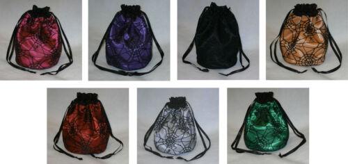 Gothic Spider Web Satin /& Lace Dolly Evening Handbag Purse Halloween Costume