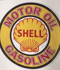 ROUND SHELL OIL GASOLINE SUPER HIGH GLOSS OUTDOOR 4 INCH DECAL STICKER