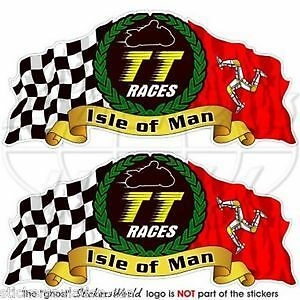 "ISLE of MAN TT Races MANX Moto GP Racing Bike-Helmet Decals Stickers 3""(75mm) x2"