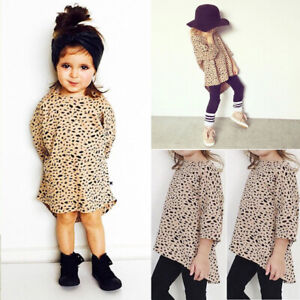 920fe8892534 UK Toddler Kids Baby Girl Clothes Leopard Print Loose Tops T-Shirt ...