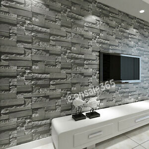 M Dark Grey DIY Wallpapers D Brick Nonwoven Wall Paper Roll - 3d brick wallpaper living room