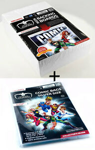 100 COMIC BACKING BOARDS SILVER + 100 pochettes silver size refermables