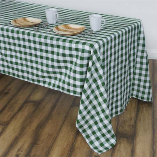 """Green White Checkered 60x102/"""" RECTANGLE Polyester Tablecloth Picnic Linens"""