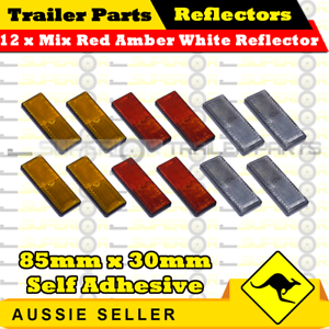 12 x Mix Red Amber White 85mm x 30mm Self Adhesive Reflectors-Sup<wbr/>erior Trailers