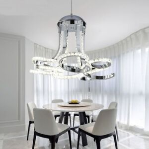 Details about Modern LED Crystal Pendant Stainless Steel Pendant Dining  Room Chandelier Lamp