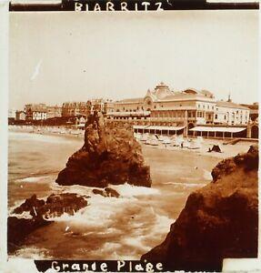 FRANCE-Biarritz-Grande-Plage-Photo-Stereo-Plaque-Verre-ca-1910