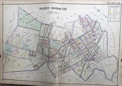 1909 DELAWARE COUNTY PENNSYLVANIA LANSDOWNE COUNTRY CLUB DARBY SCHOOL ATLAS MAP