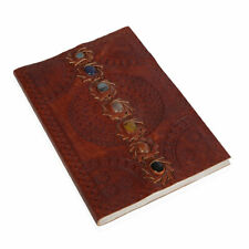 Handcrafted Brown Embossed Leather Seven Chakra Journal Office Graduation Gifts